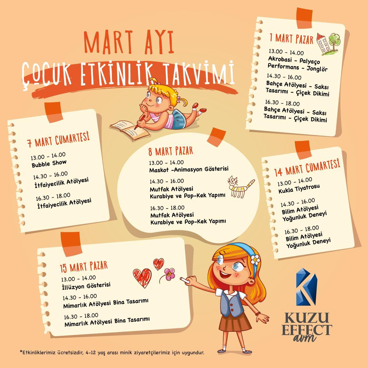 Mart Ayı Çocuk Etkinlik Takvimi